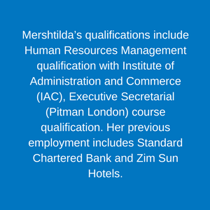 Mershtilda Chaparadza _ Data Coordinator Staff Children's Hospital Trust